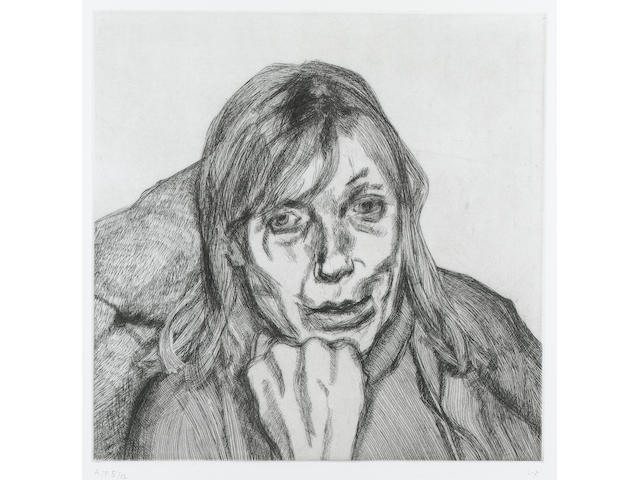 Lucian Freud Suzanna Etching, 1996, on crisp wove, with full margins, signed, inscribed A.P and numbered 5/12, aside from the edition of 40, printed by Studio Prints, London, published by Matthew Marks Gallery, New York; in good condition, 300 x 300mm (11 3/4 x 11 3/4in)(PL)