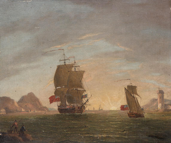 Francis Swaine (British, d. 1782) An English frigate arriving in a bay with an official yacht ahead of her 24.2 x 28cm. (9 1/2 x 11in.)
