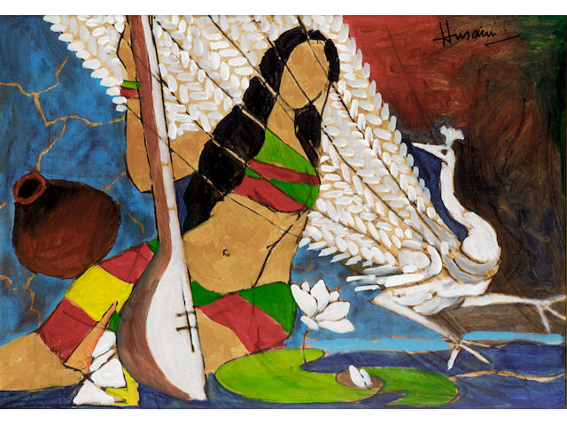 Maqbol Fida Husain (b. 1915) Woman with Peacock