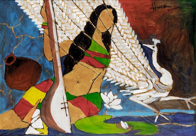 Maqbool Fida Husain (India, b.1915) Woman with Peacock