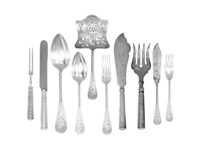 An extensive Austro-Hungarian silver table service of flatware, Vienna, some items impressed JÄGER,