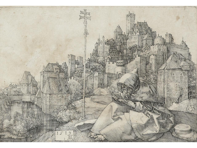 Albrecht Durer St Anthony Etching, 1519, a Meder d impression on laid, with the C.R. collectors stamp on reverse; with thread margins, 1cm tear into the image top left sheet edge, other defects; 100 x 142mm (3 7/8in x 5 2/3in)(SH)