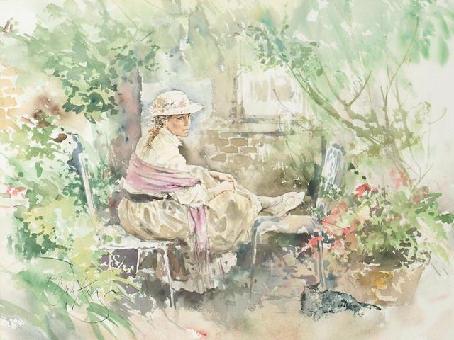 Gordon King (1939-) 'A rest in the garden' 52 x 69cm