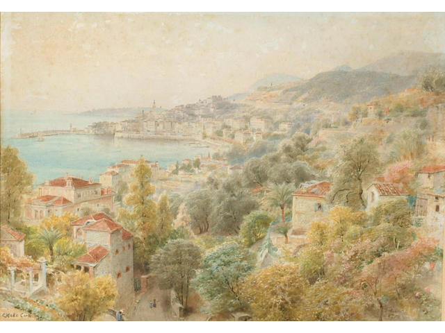 Ebenezer Wake Cook (1843-1926) 'French Reviera', signed and dated '90, watercolour 24 x 32cm