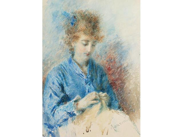 Daniele Ranzoni (Italian, 1843-1889) A young lady sewing 48.5 x 34.5 cm. (19 x 13 1/2 in.)