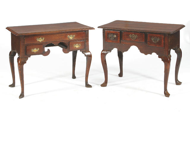 A George III oak and mahogany crossbanded lowboy