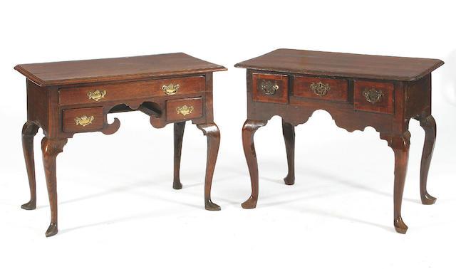 A George III oak and mahogany crossbanded lowboy