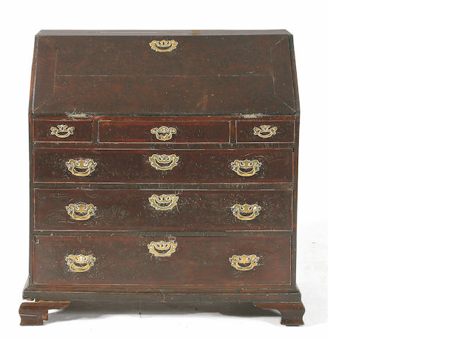 An 18th Century pollard oak bureau,