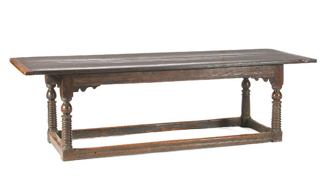 A mid 17th Century oak refectory table,