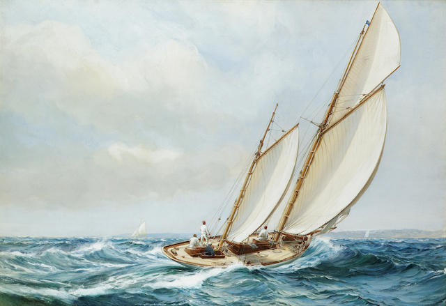 Montague Dawson (British, 1895-1973) A free wind 52 x 75 cm. (20 1/2 x 29 1/2 in.)