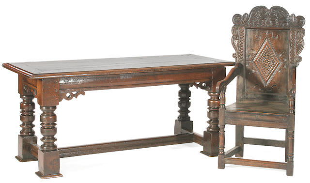 A mid 17th Century oak refectory type table,