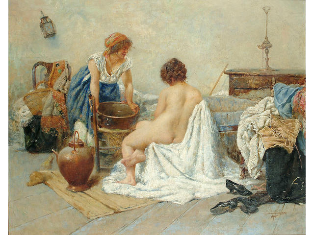 T. Lamensi (Italian, 1870-1957) Preparing for the bath, 21 1/4 x 26 1/8 in. (54 x 66.4 cm.)