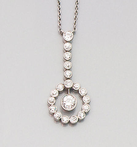 A mid 20th century diamond pendant/necklace,