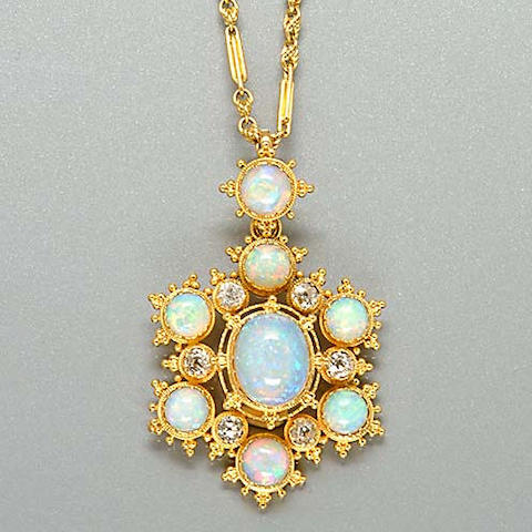 An early Victorian gold, opal and diamond pendant/necklace,