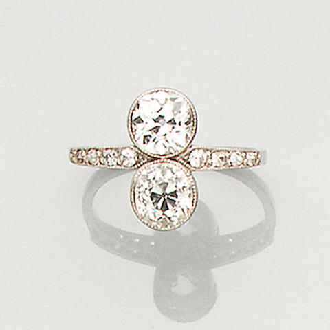An early 20th century diamond two-stone ring,