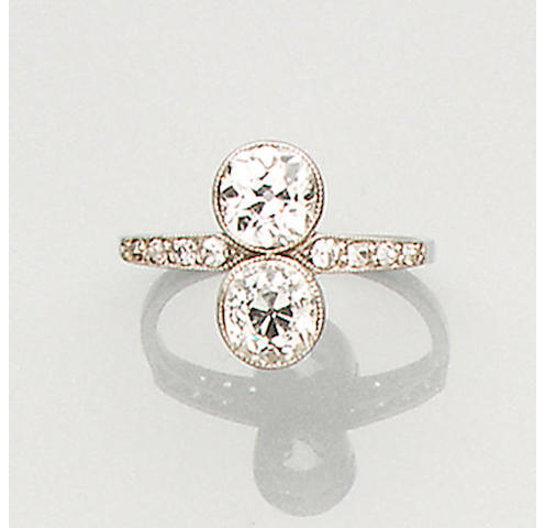 An early 20th century diamond two-stone ring