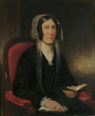 English School,19th Century Portrait of a lady, seated, holding a book, 29 7/8 x 25 in. (76 x 63.5 cm.)