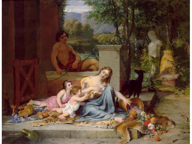 Oscar Pierre Mathieu (French 1845-1881) Le Bonheur de Champs 121 x 156 cm.(47 3/4 x 61 1/2 in.)