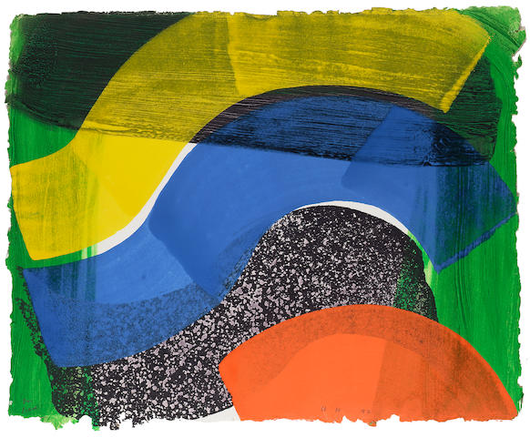 """Howard Hodgkin Put out more Flags Lift-ground etching and aquatint from one copper plate, with carborundum from three aluminium plates, printed in black and green, with hand colouring in orange, blue and yellow egg tempera, signed with initials, dated '92 and dedicated to """"David"""", on hand made paper, printed by Jack Shirreff at 107 Workshop, Wiltshire; in excellent condition, 420 x 524mm (16 1/2 x 20 5/8in)(SH)"""