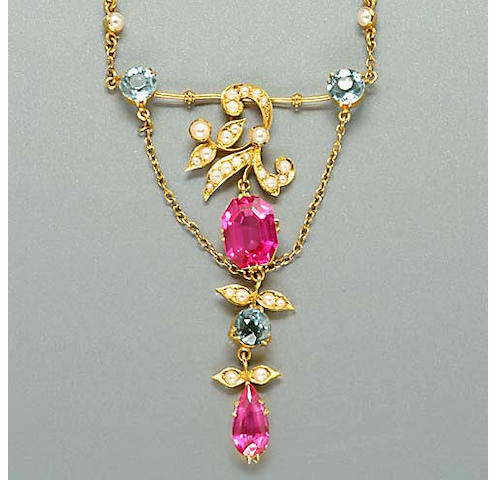 An early 20th Century synthetic ruby, aquamarine and seed pearl necklace and earring suite, (3)