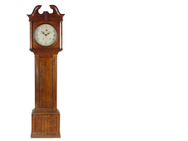 Oak cased longcase with painted dial Thatcher? Bainsley