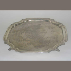 "A salver, maker's mark ""R.P"", 1936,"