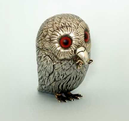 A Victorian novelty mustard pot in the form of an owl, by George John Richards, 1852,