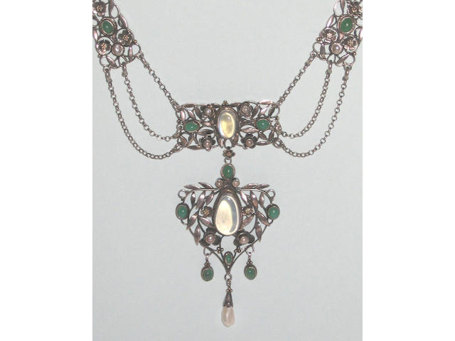 "An Arthur and Georgina Gaskin moonstone, green agate and mother of pearl necklace, signed ""G"" to the reverse,"