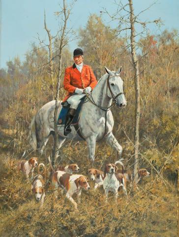 John Seerey-Lester (1945-) 'Huntsman and hounds' 60 x 45cm