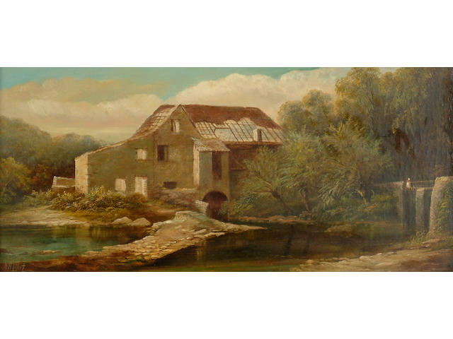 Henry Harris (1805-1865) 'Snuff Mill, Stapleton, Bristol', signed, also inscribed on the stretcher, oil on canvas 27 x 59cm