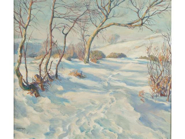 J Kramer (20th Century) 'Snowscene', signed, oil on canvas 40 x 45cm