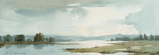 Edward Wesson (1910-1983) 'Morning light on a river' 25 x 69cm