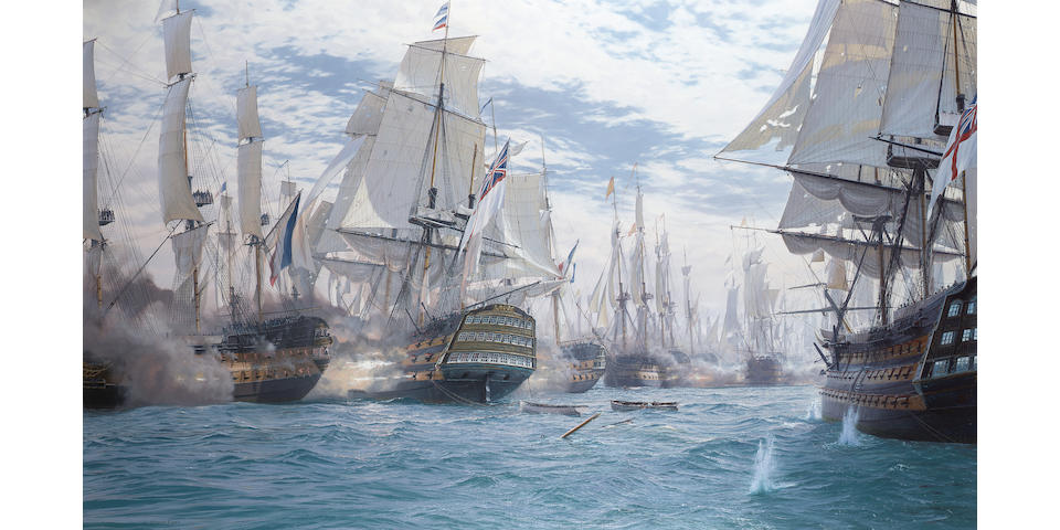 "John Steven Dews (British, b. 1949) The battle of Trafalgar – H.M.S. ""Victory"" breaking the enemy line and raking the stern of the French flagship as she goes through 101.6 x 167.6cm. (40 x 66in.)"