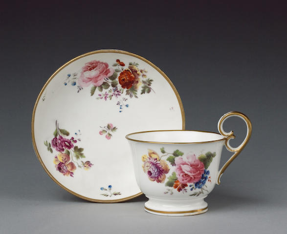 A rare Nantgarw breakfast cup and saucer circa 1821-23