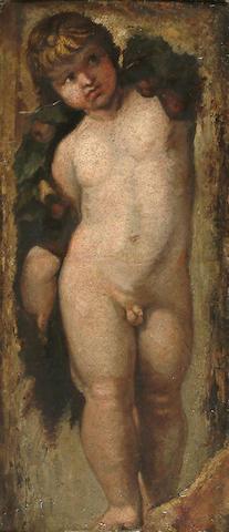 Italian School, 18th Century, After Raphael A cherub, 53.5 x 23.5 cm (21 x 9 1/4 in.)