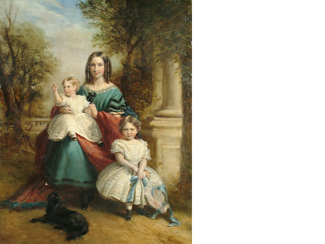 English School, circa 1840 A mother and her infant children shown seated in a garden, 29 3/8 x 23 1/