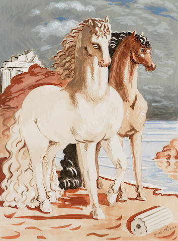 Giorgio de Chirico Two horses on a beach Lithograph, circa 1960, printed in colours, on wove, signed and numbered 147/250 in pencil; apparently in good condition, unexamined out of the frame, 395 x 290mm (15 1/2 x 11 1/3in)(I)