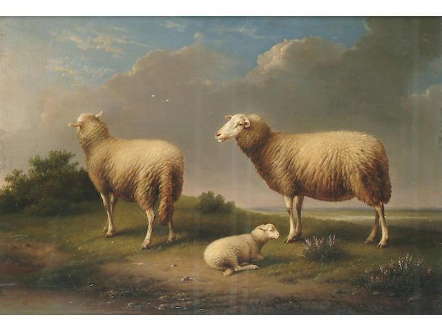 Franz van Severdonck (Belgian, 1809-1889) Sheep in a landscape, 10 5/8 x 15 1/4 in. (27 x 39 cm.)