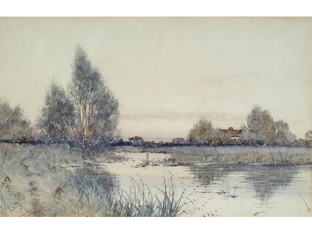 Francis Gordon Fraser, On the Thames, bears inscription on label attached verso, watercolour, 21.5 x 33.5cm.