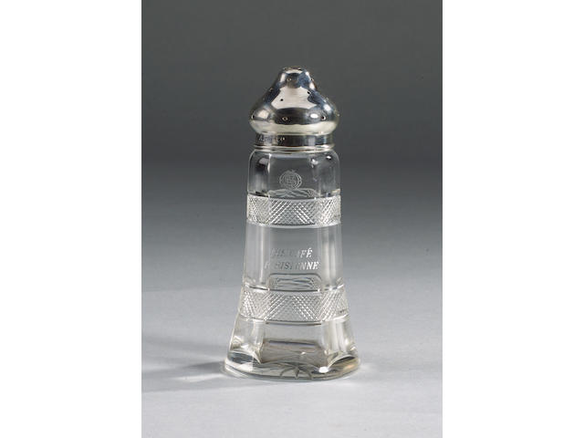 A Silver Mounted Glass Sugar Caster, RMS TITANIC 18x8cm(7x3in)
