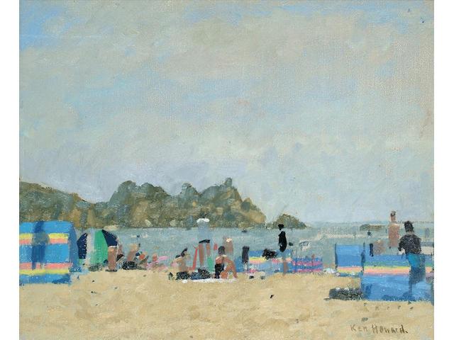 Ken Howard (British, b.1932) Windbreaks, Porthcurno 9 1/2 x 11 1/2 in. (24 x 29cm.)