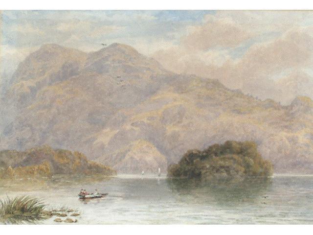John Steeple (British, fl. 1846-1887), Ellen's Isle, Loch Katrine, 23.2 x 33.7 cm.