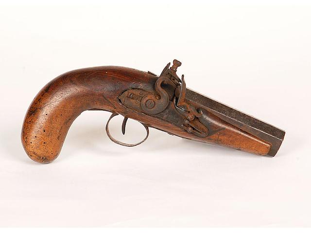 A flintlock pistol, stamped Harcourt, Ipswich