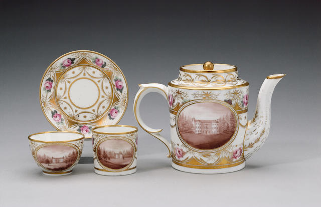 A group of Paris tea and coffee wares painted by William Billingsley circa 1799-1808