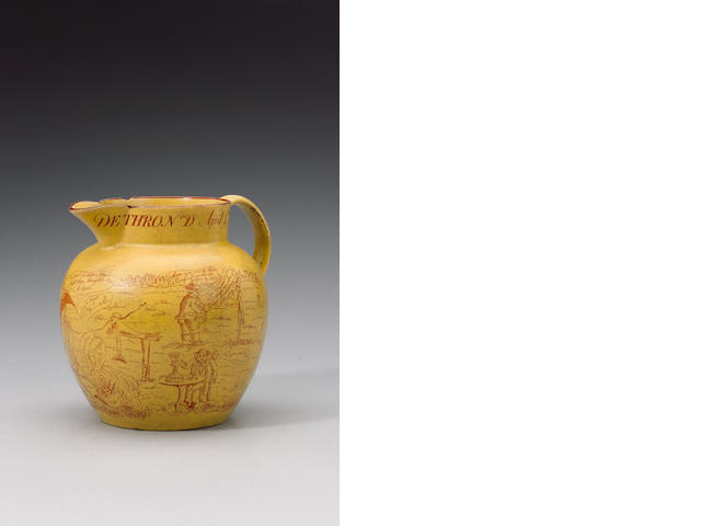 A Cambrian canary yellow printed earthenware 'Bonaparte' jug circa 1814