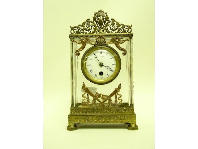 A French glass mantel timepiece