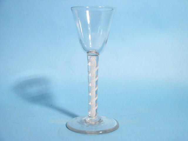 An opaque twist wine glass, circa 1770,
