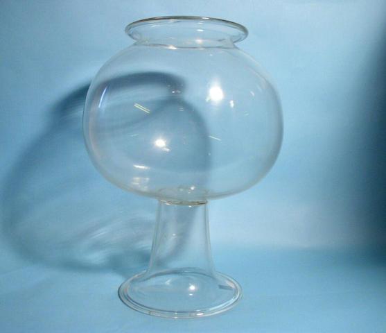 A glass leech bowl, 19th Century,