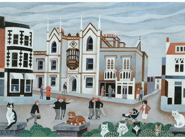 Alfred Daniels (British, b.1924) Brighton Cats 12 x 16 in. (30 x 41cm.)