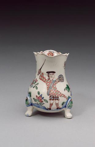 An important Staffordshire saltglaze cream jug of Jacobite interest circa 1745